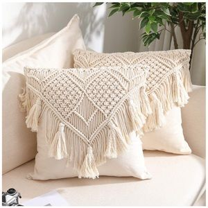 Set Of 2 Throw Pillow Covers, Macrame Cream